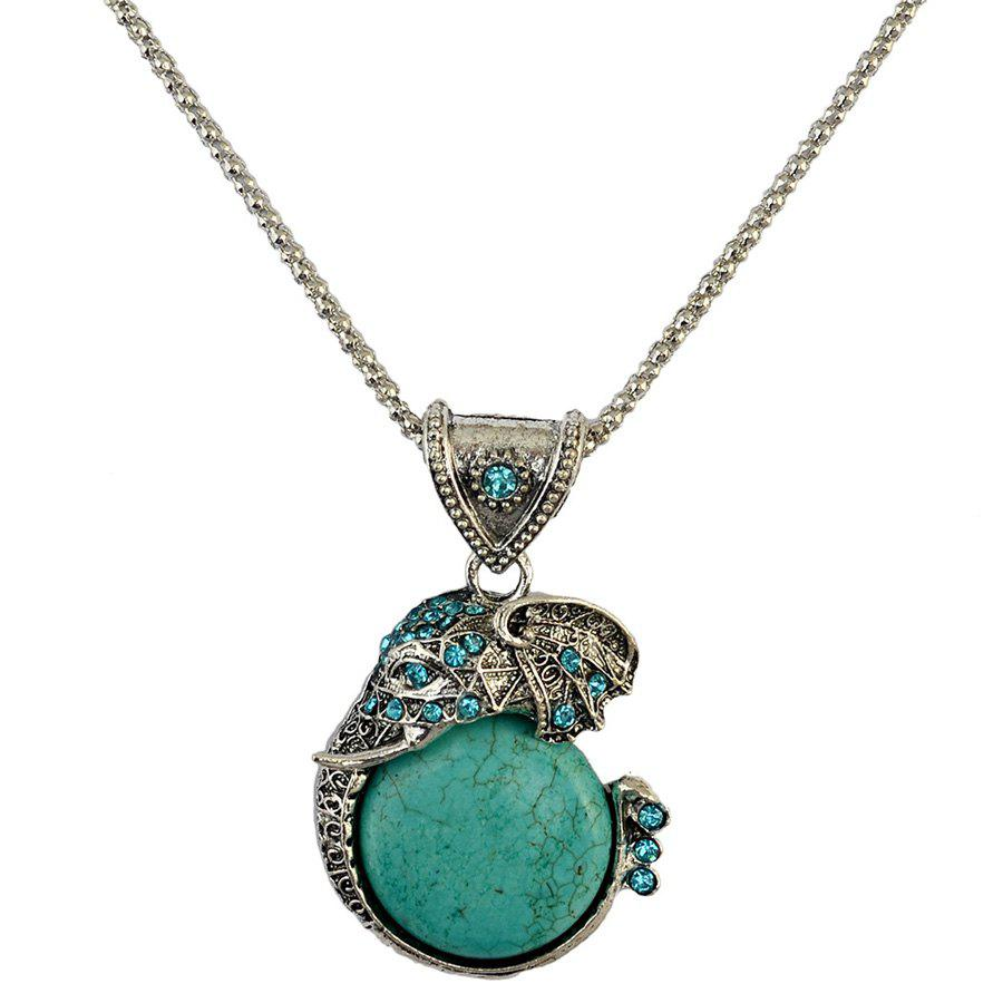 Vintage Faux Turquoise Rhinestone Carving Elephant Necklace For Women