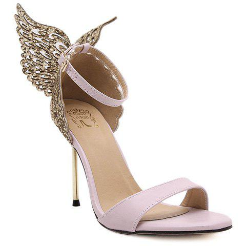 Party Wings and Ankle Strap Design Women's Sandals - PINK 39