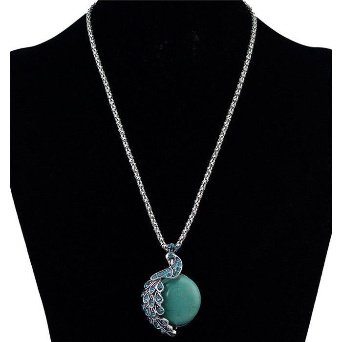 Vintage Faux Turquoise Rhinestone Carving Peacock Necklace For Women - SILVER
