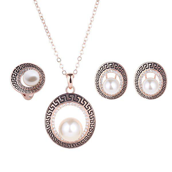 A Suit of Stylish Faux Pearl Rhinestone Openwork Necklace Earrings and Ring