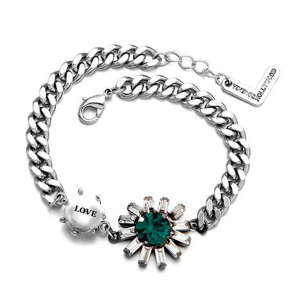 Faux Gem Love Bracelet - GREEN