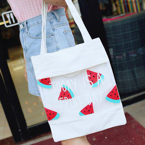 Casual Letter Pattern and Watermelon Print Design Women's Shoulder Bag - WHITE
