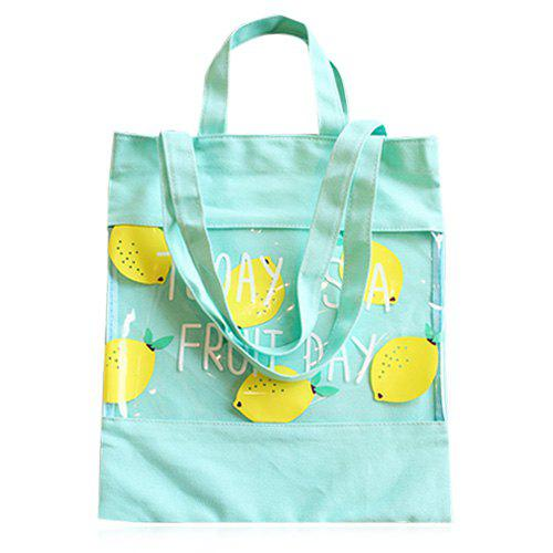 Leisure Transparent Plastic and Pear Print Design Women's Shoulder Bag - GREEN