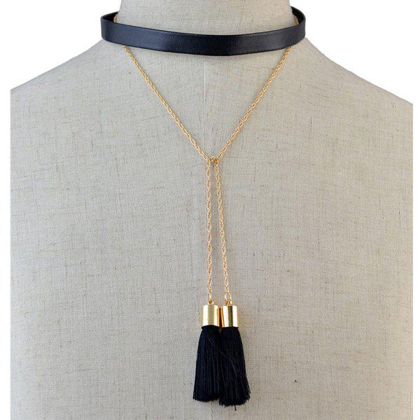 Vintage Multilayer PU Leather Tassel Chokers Necklace For Women