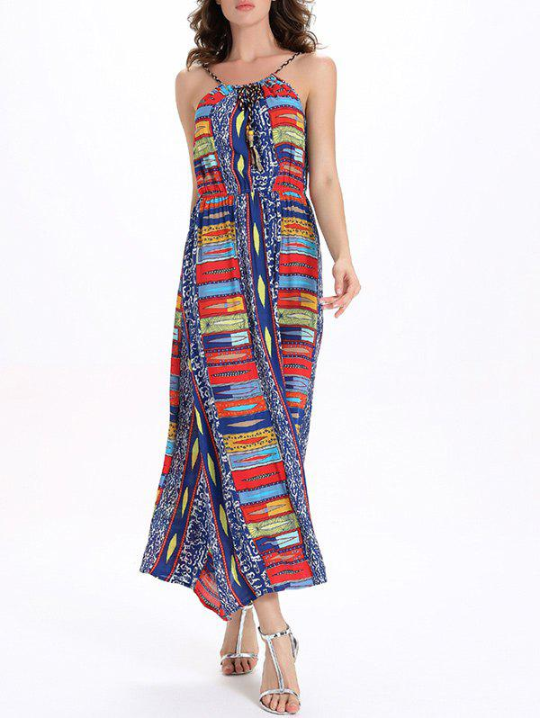 Printed Elastic Waisted Maxi Cami Dress - COLORFUL 2XL