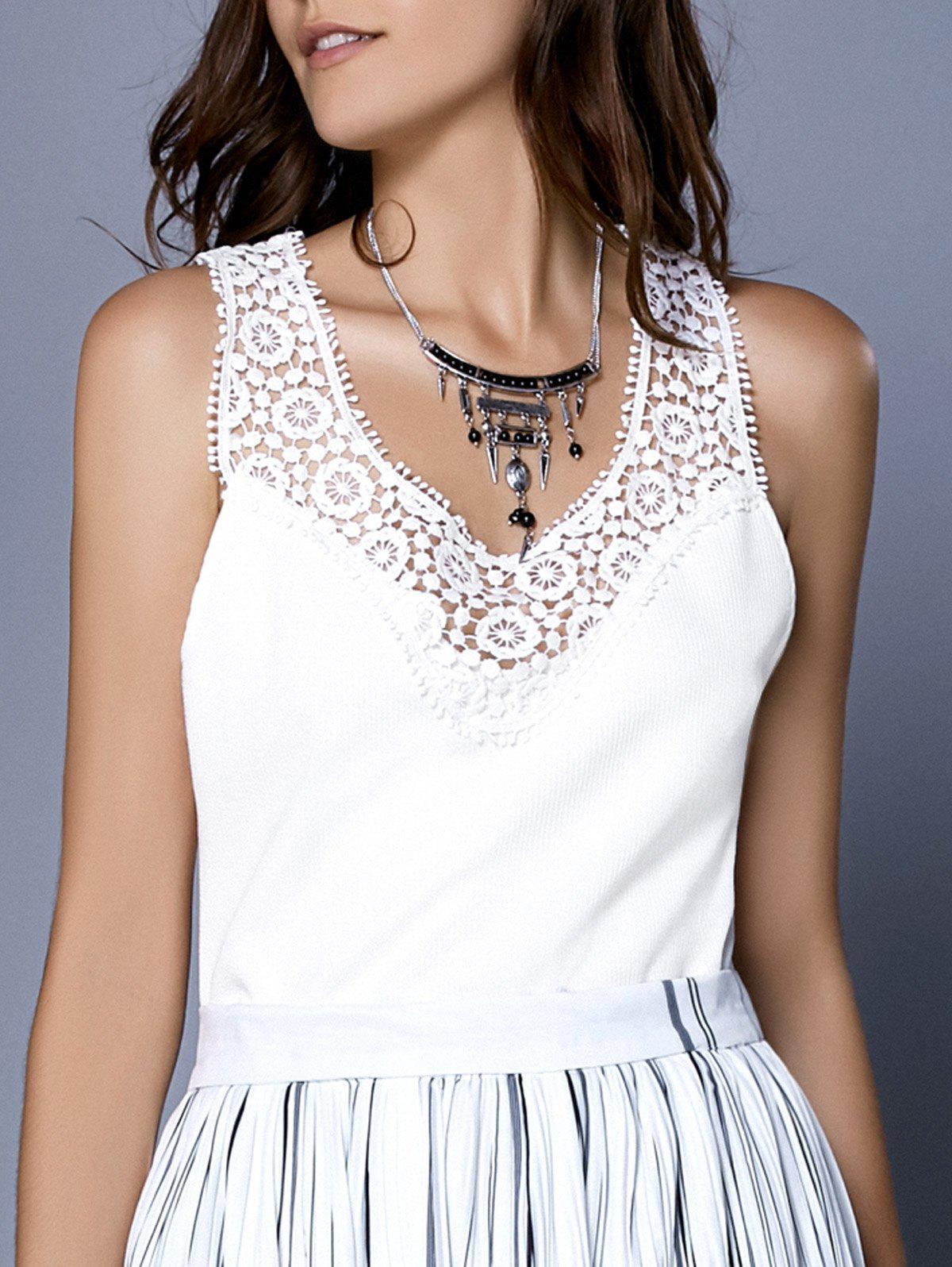 Fashionable Womens Scoop Neck Ribbed Lace Tank TopWomen<br><br><br>Size: S<br>Color: WHITE