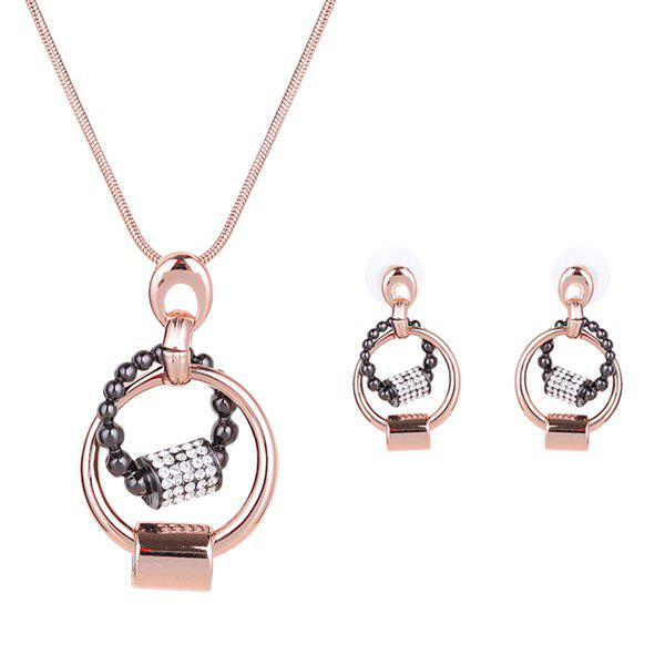 A Suit of Stylish Hollow Out Black Bead Rhinestone Necklace and Earrings For Women