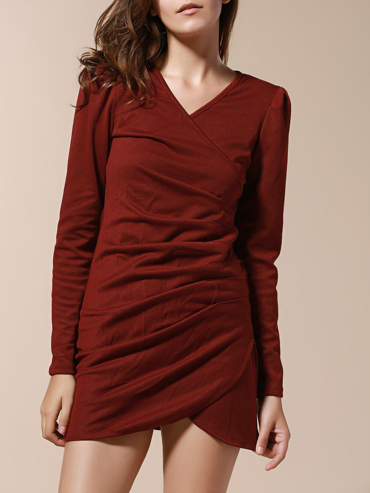 Elegant Style V-Neck Side Pleated Design Long Sleeve Cotton Blend Women's Dress - WINE RED XL