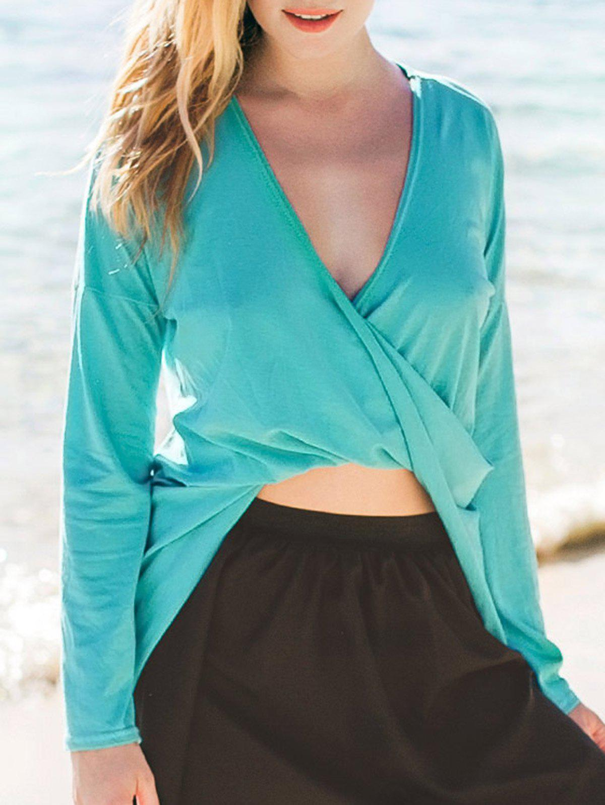 Chic Plunging Neck Long Sleeve Asymmetrical Pure Color Womens T-ShirtWomen<br><br><br>Size: M<br>Color: TURQUOISE