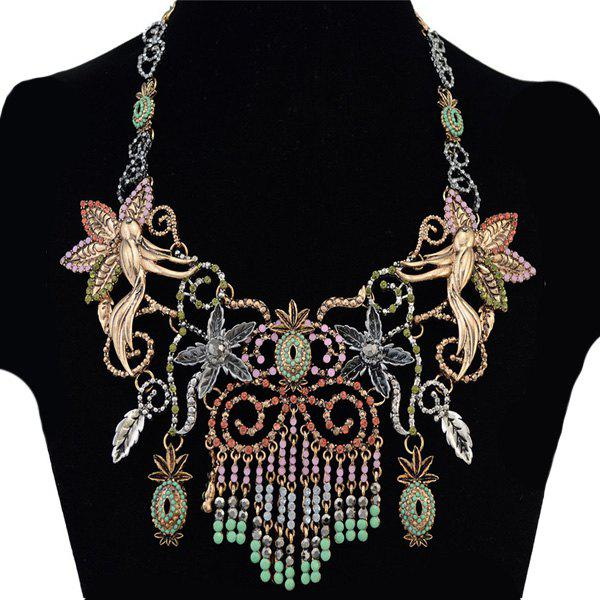 Faux Gem Bird Flower Ananas Tassel Necklace - COLORMIX