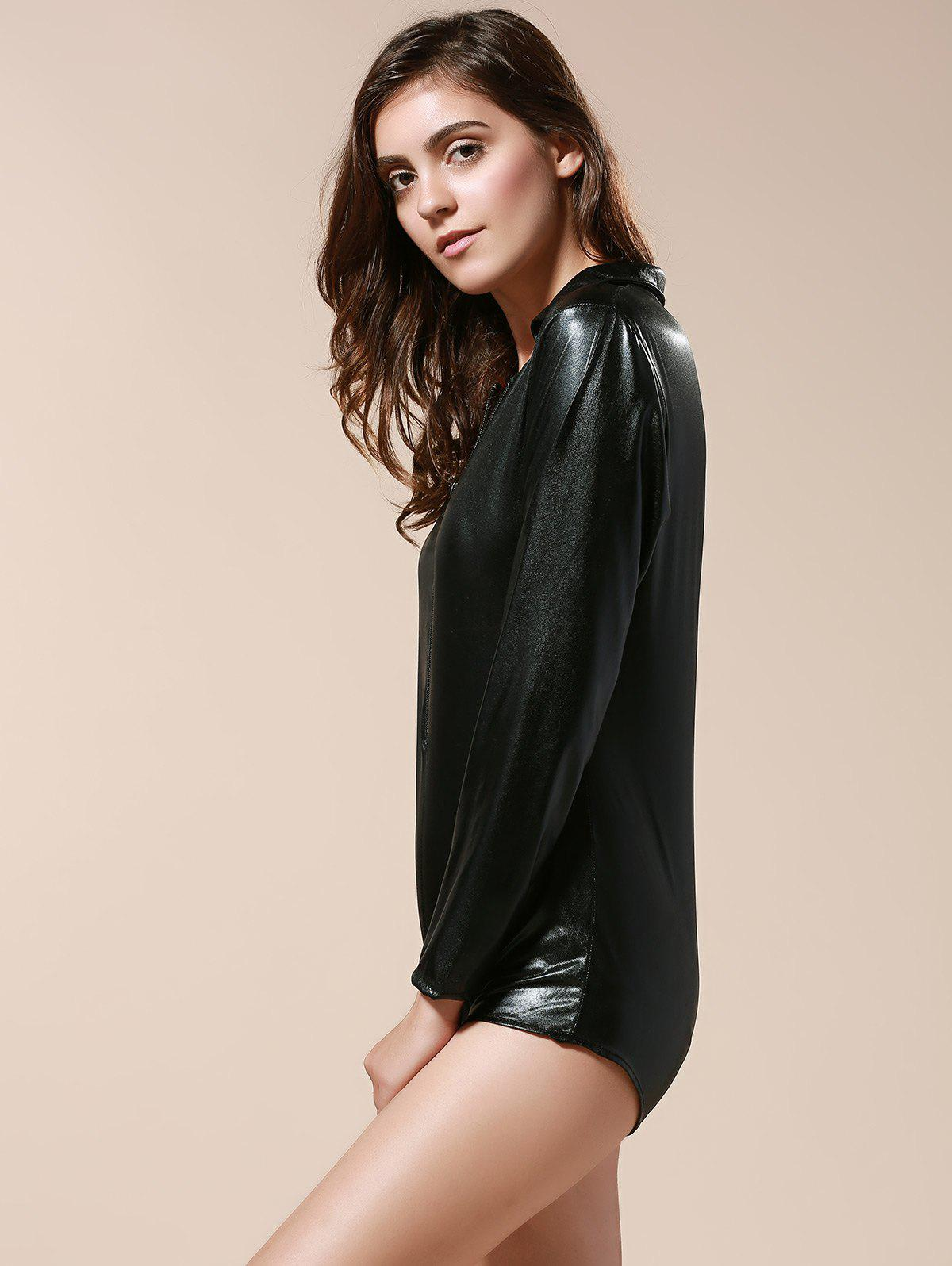 Sexy Long Sleeve Turn-Down Neck Pure Color Women's Dancewear - BLACK ONE SIZE(FIT SIZE XS TO M)