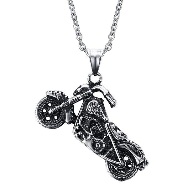 Punk Style Motorcycle Collier Shape For Men - Argent