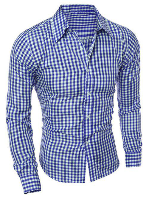 Casual Slimming Turn-Down Collar Pliad Print Long Sleeve Men's Shirt - BLUE 2XL