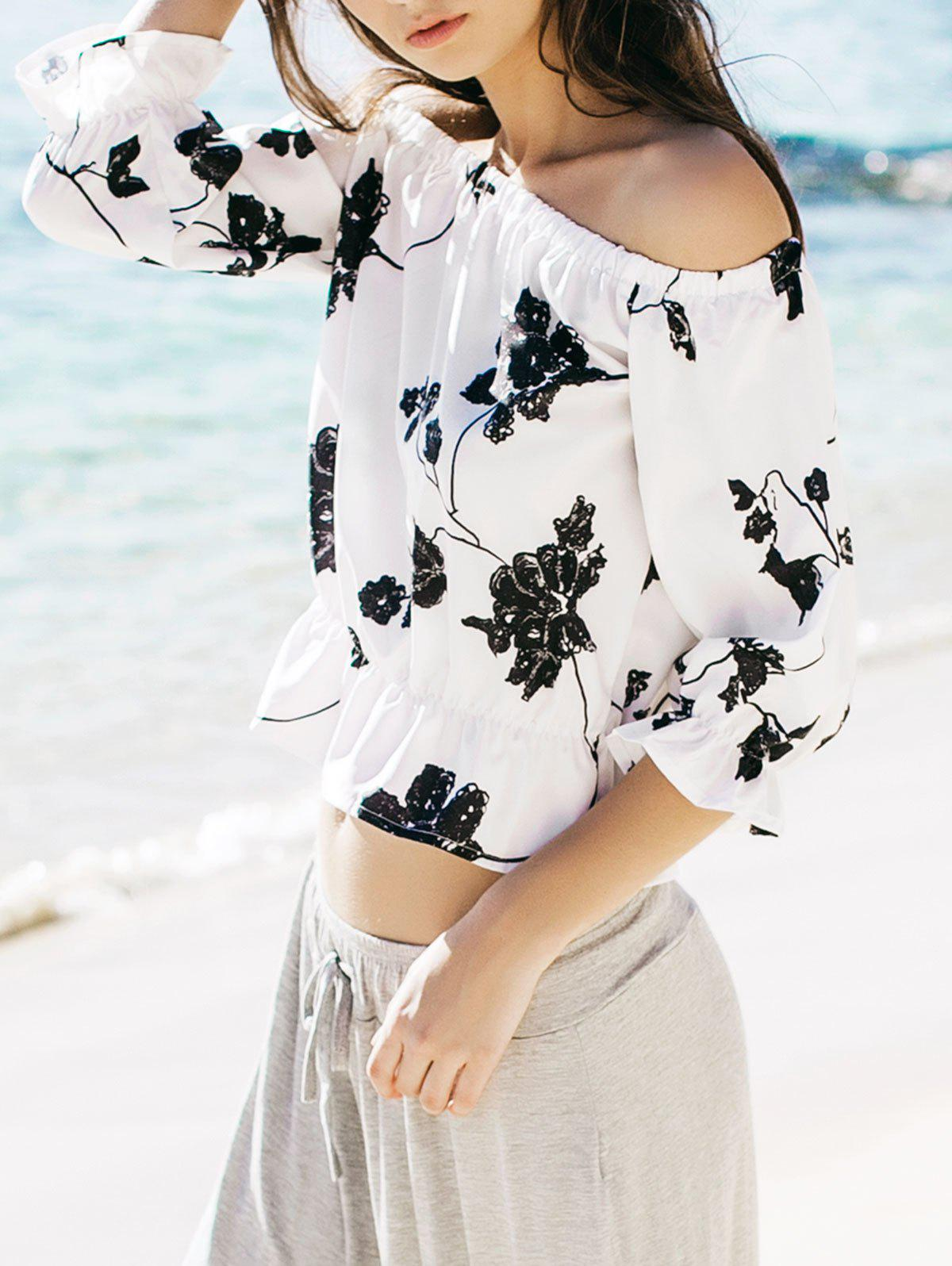 Refreshing Black Floral Printed Off-The-Shoulder Short Blouse For Women - WHITE L