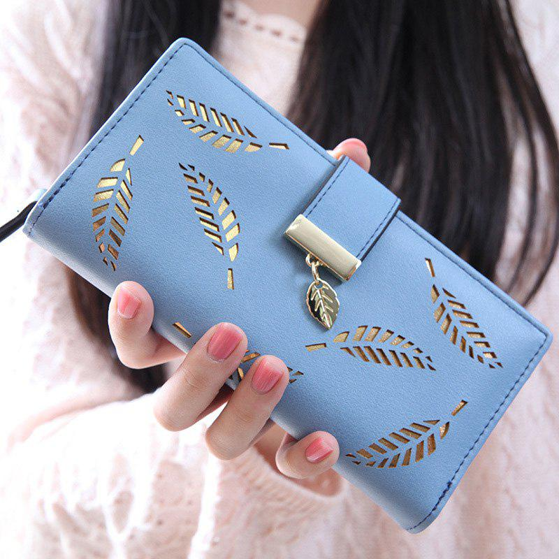 Trendy Leaves and Hollow Out Design Women's Wallet - BLUE