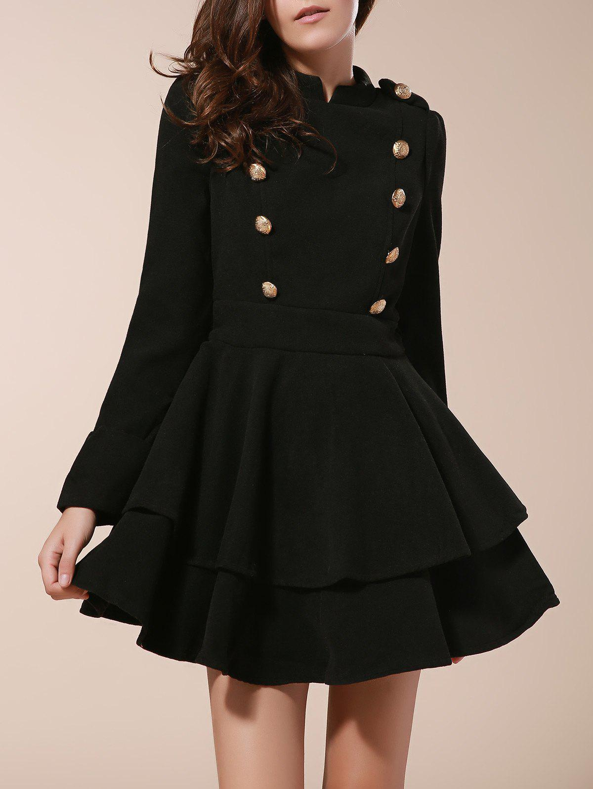 Vintage Stand Collar Long Sleeve Buttons Embellished Ruffles Dress For Women