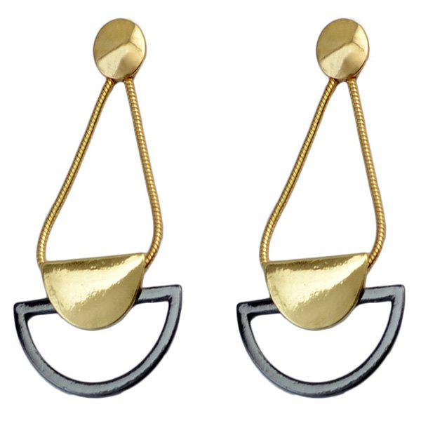Pair of Vintage Hollowed Semicycle Earrings For Women - GOLDEN