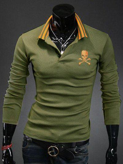 Slimming Turndown Collar Trendy Skull Print Long Sleeve Polyester Men's Polo T-Shirt - ARMY GREEN M