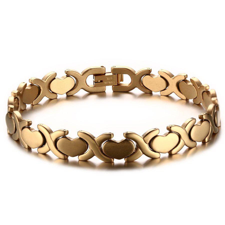 Chic Heart Alloy Bracelet For Men - GOLDEN