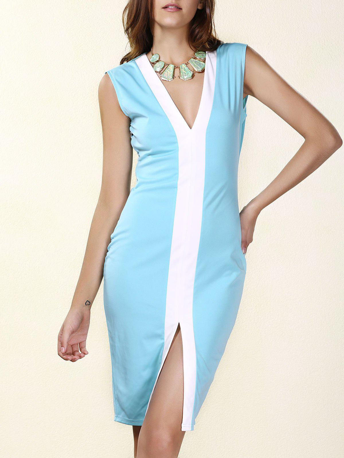 Sexy Plunging Neck Sleeveless Blue Bodycon Dress For Women - AZURE XL