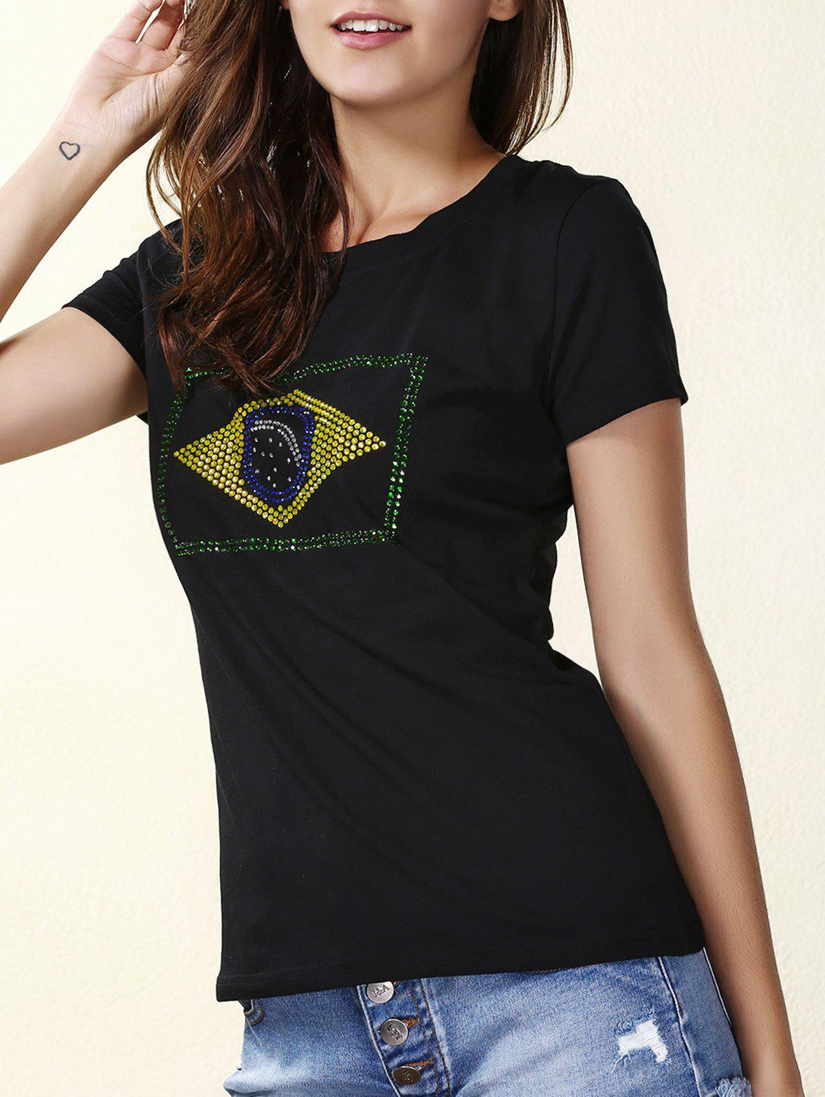 Trendy Flag Print Round Neck Short Sleeve T-Shirt For Women
