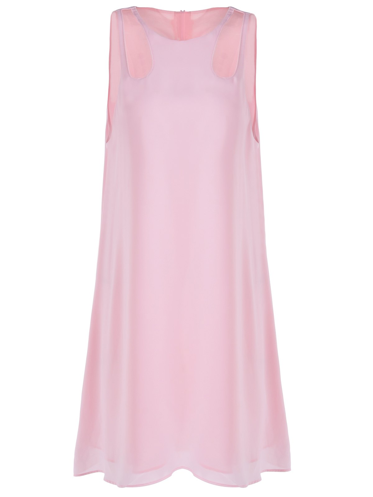 Sweet Cut-Out Round Collar Sleeveless Dress For Woman - S LIGHT PINK