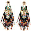 Pair of Rhinestone Flower Bead Tassel Earrings - BLUE