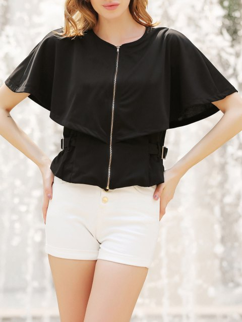 Stylish Round Neck 1/2 Sleeve Solid Color Slimming Zippered Women's Jacket - BLACK XL