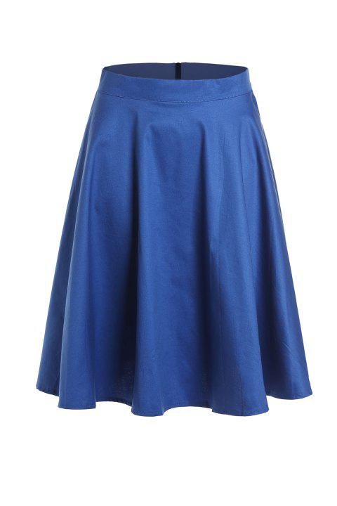 Noble Solid Color High Waist A-Line Ball Skirt For Women - DEEP BLUE XL