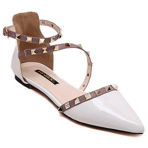 Fashionable Hit Colour and Rivets Design Women's Flat Shoes - WHITE 38