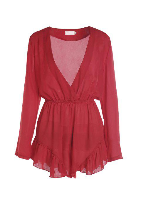 Fashionable V-Neck Solid Color Flounce Long Sleeve Playsuit For Women - RED L