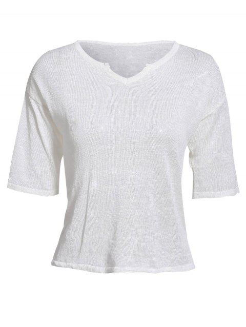 Women's Casual Style Notch Collar Half Sleeve Solid Color T-Shirt - WHITE ONE SIZE(FIT SIZE XS TO M)