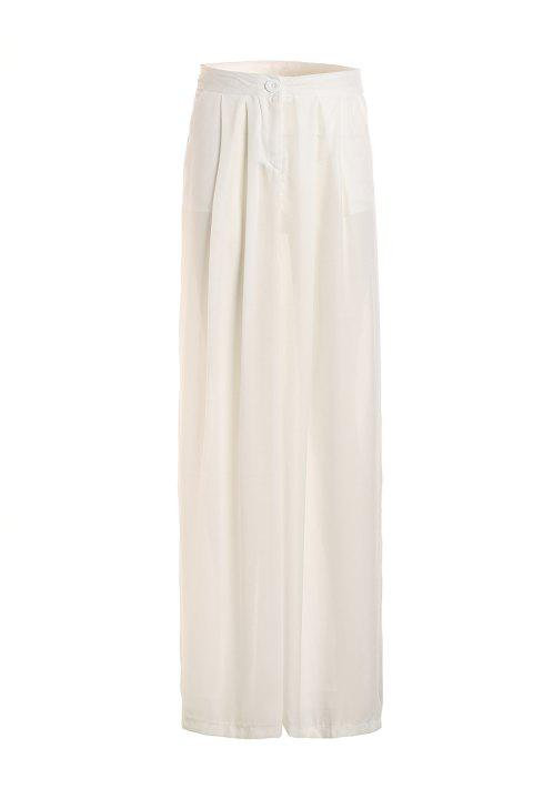 Linen Wide Leg Pants - WHITE S