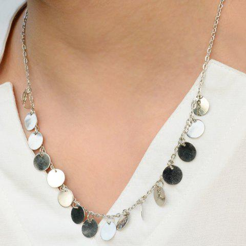 Alloy Round Tassel Necklace - SILVER