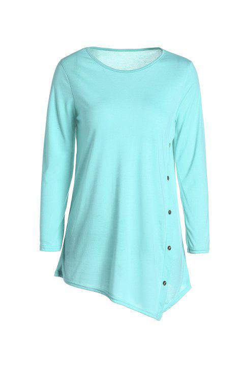 Casual Scoop Neck Solid Color neuf minutes T-shirt manches femmes - Vert L