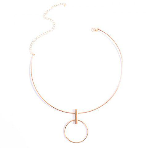 Alloy Circle Pendant Necklace - GOLDEN