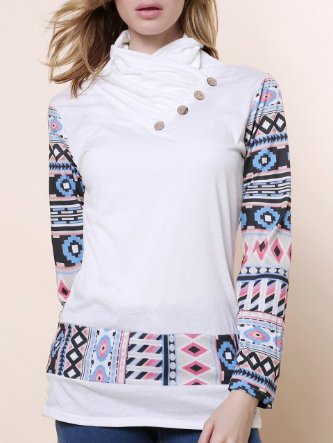Cowl Neck Long Sleeve Printed Sweatshirt - WHITE XL