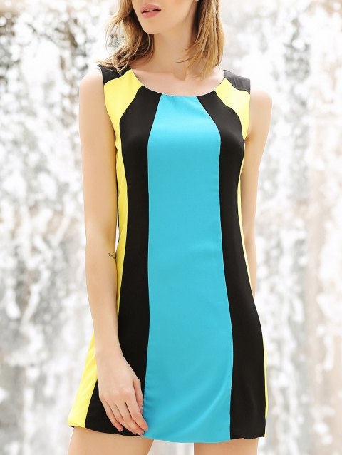 Color Block Splicing Round Collar sans manches Trendy Style Robe Femme - multicolore M