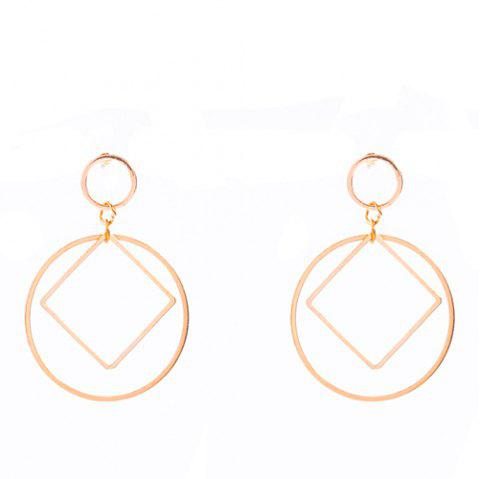 Paire de Hollowed Circle Square Boucles d'oreilles - Or