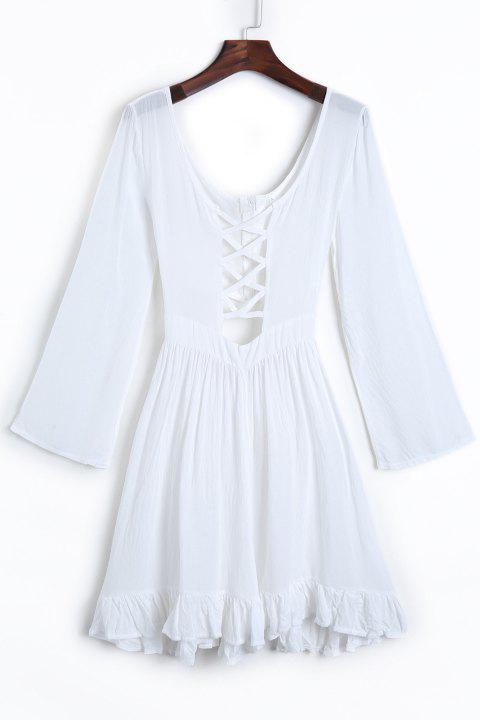 Sexy Scoop Neck Long Sleeve Cut Out Pure Color Women's Dress - WHITE XL