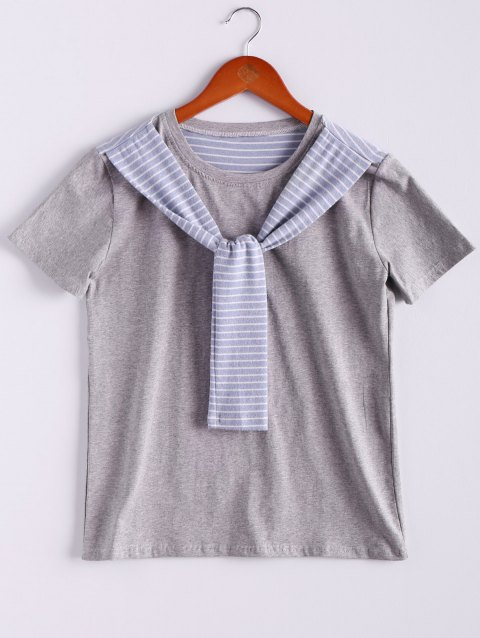 Preppy Style Women's Round Neck Short Sleeve Patchwork T-Shirt - LIGHT GRAY ONE SIZE(FIT SIZE XS TO M)