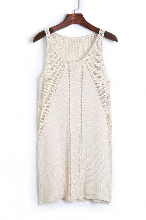 Stylish Scoop Neck Sleeveless Solid Color Knit Women's Cover Up - APRICOT ONE SIZE(FIT SIZE XS TO M)