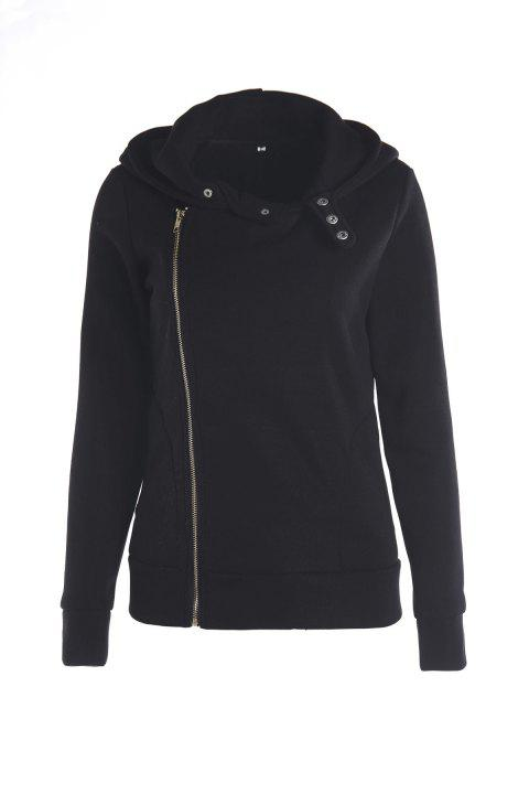 Stylish Women's Solid Color Long Sleeve Hoodie - BLACK M