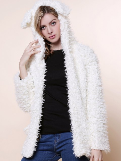 Cute Bear Ear Design Hooded Long Sleeves Women's White Faux Fleece Coat - WHITE L