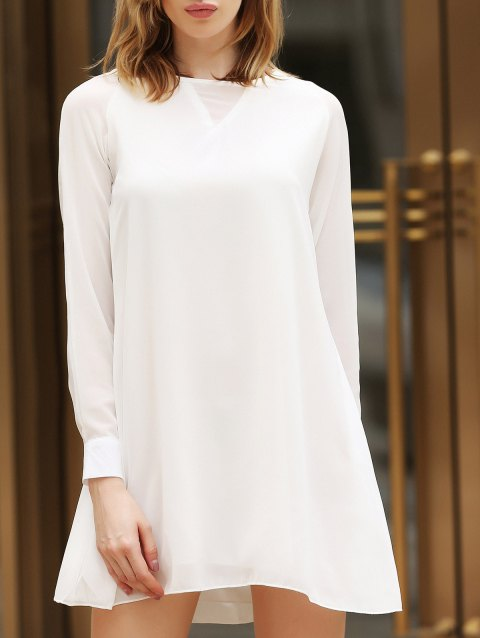 Flounce Long Sleeve Chiffon Shift Dress - WHITE ONE SIZE