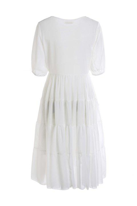Stylish Scoop Neck Short Sleeve White Women's Maxi Dress - WHITE M