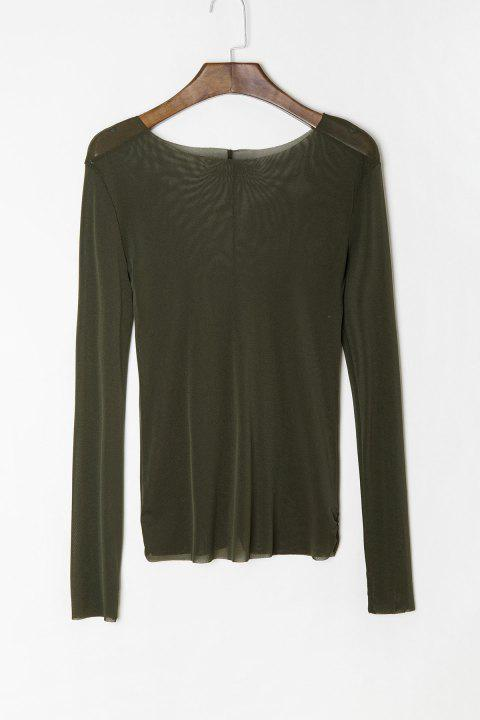 Stylish Scoop Neck Long Sleeve See-Through Women's T-Shirt - ARMY GREEN XL