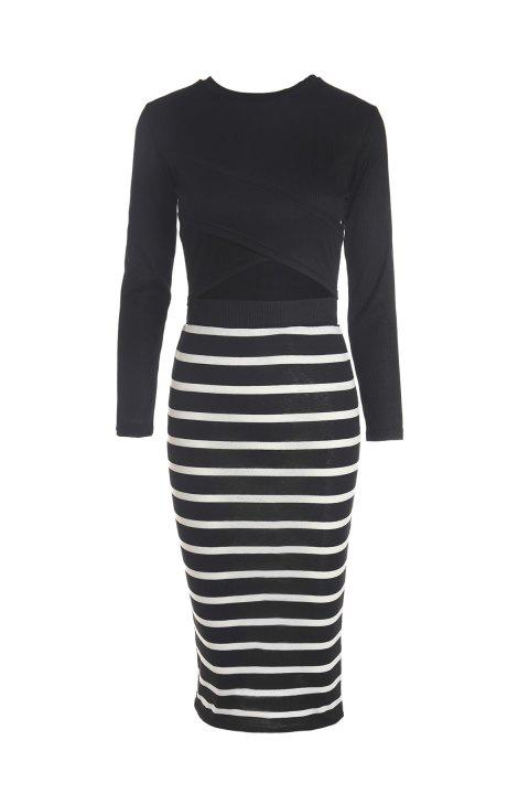 Sexy Style Round Neck Solid Color Long Sleeve Crop Top + Stripe Skirt For Women - BLACK M