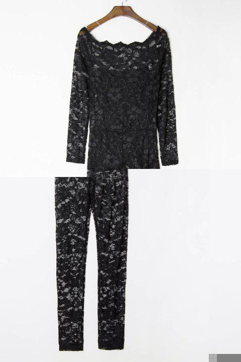 Sexy Off-The-Shoulder Lace Hollow Out Long Sleeve Women's Jumpsuit - BLACK L