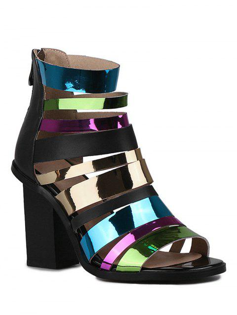 Stylish Colorful Straps and Chunky Heel Design Sandals For Women - BLACK 37